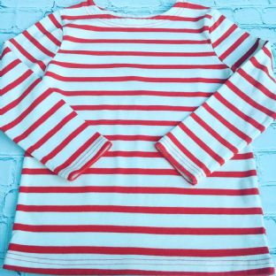 Mini Boden red and white striped harbour top
